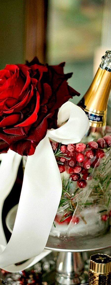 """a bottle of champagne is chilled in a """"home-made"""" ice-bucket"""", made with with cranberries and evergreens."""