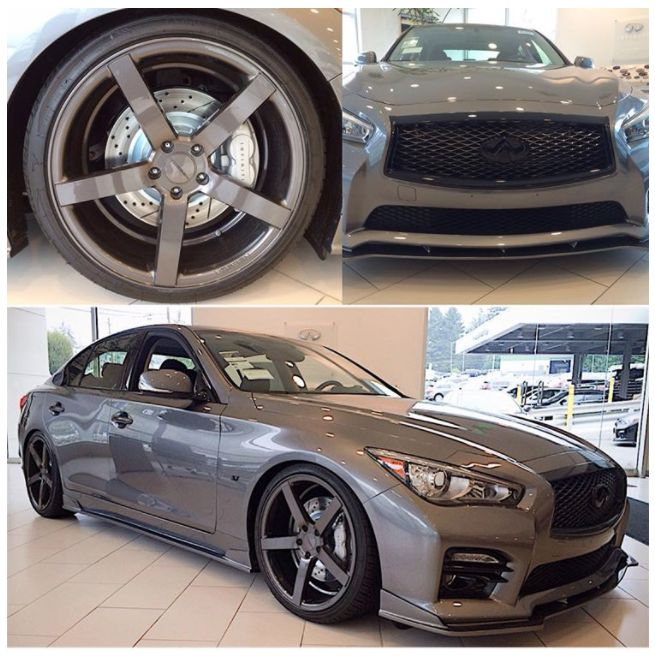 Infiniti Q50 with Vogue Signature V Black Ultra High Performance Tyres.