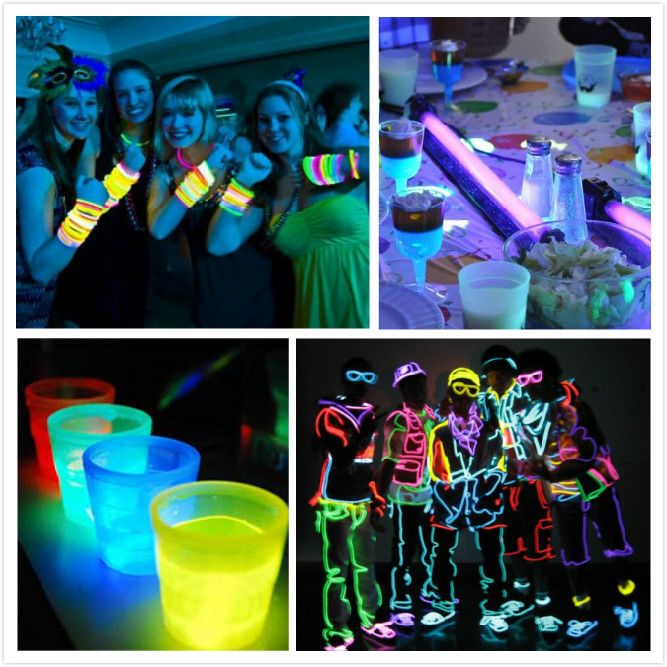 Glow party decorations glow in the dark party ideas for Glow in the dark centerpiece ideas