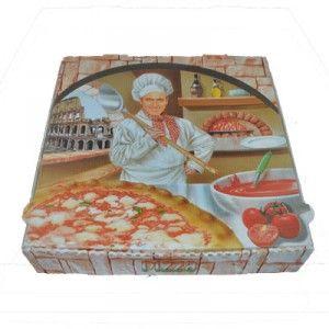 """Découvrez la boite à pizza Roma disponible en plusieurs tailles. Le modèle Romaillustre un pizzaiolo devant le four à pizza avecle colysée de Rome en arrière-plan.Boite à pizza modèle """"Roma"""" (conditionnement : colis x"""