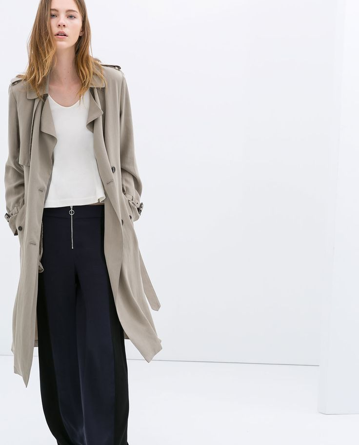 Image 1 of LONG FLOWING TRENCH COAT from Zara