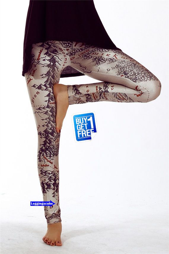 Lord of The Rings Leggings-Middle Earth Map Tights-collants , vêtements, Strumpfhosen , Kleidung,strumpbyxor,collant , abbigliamento K090 on Etsy, $19.70