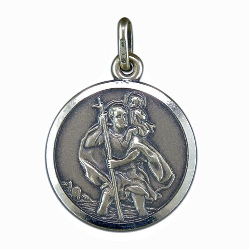 saint christopher pendant | Silver Antique Finish St Christopher Pendant And Chain SN360