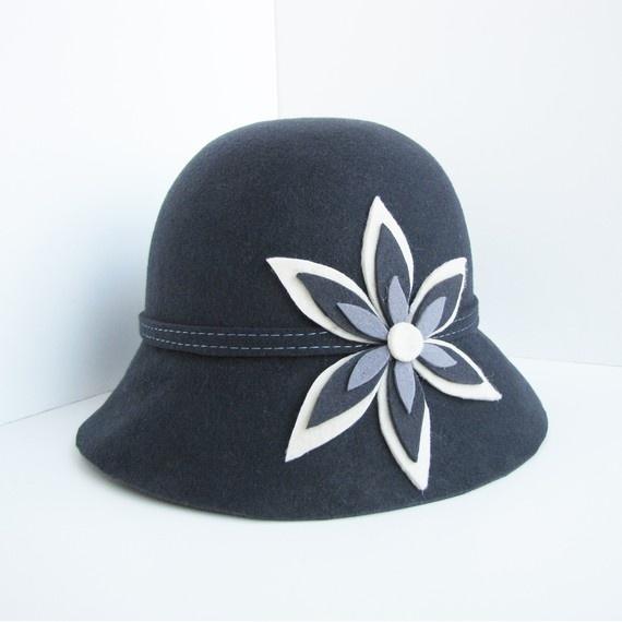 Grey Wool Cloche Hat. $20 on Etsy
