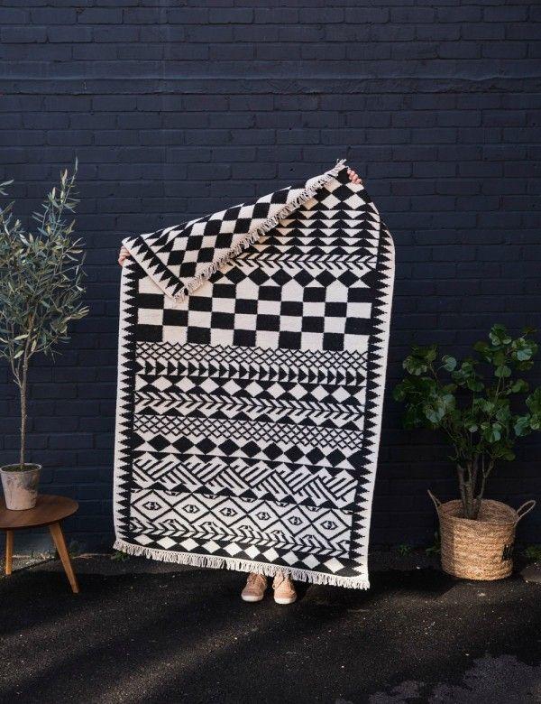 Monochrome Handmade Indian Rug