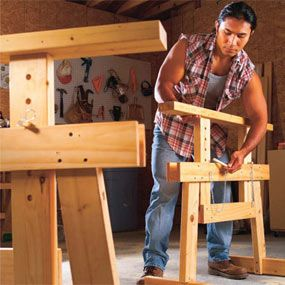 Workshop Organization Tips    Project 1: Adjustable height sawhorses  Project 2: Shop vacuum muffler box  Project 3: Flip-through tool rack  Project 4: Workbench with built-in storage  Project 5: Full-feature miter saw stand    http://www.familyhandyman.com/DIY-Projects/Indoor-Projects/Workshop/DIY-Tips-For-Your-Shop/workshop-organization-tips/Step-By-Step#step1