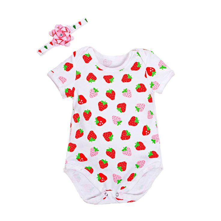 Baby Girl Bodysuits Infant Clothes Heart Printed Short Sleeve Bodysuit+Headband 2pcs Cotton Jumpsuit Fruit Recem Nascido Menina #Affiliate