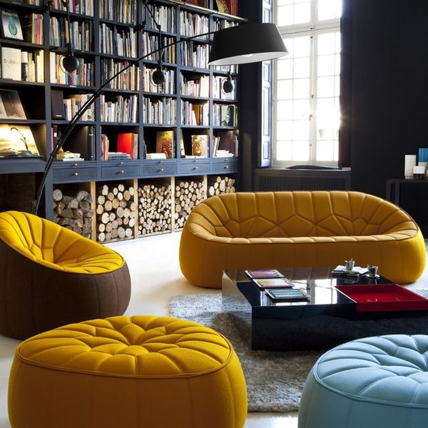 Ottoman by Noé Duchaufour-Lawrance (Cinna) - if you can look past the yellow furniture you will notice a library there