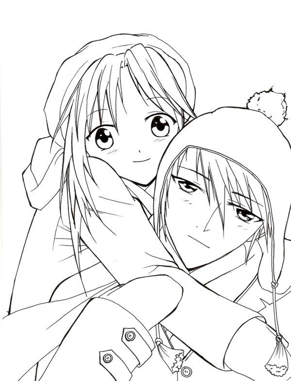 Anime Couple Coloring Pages Projects To Try Pinterest