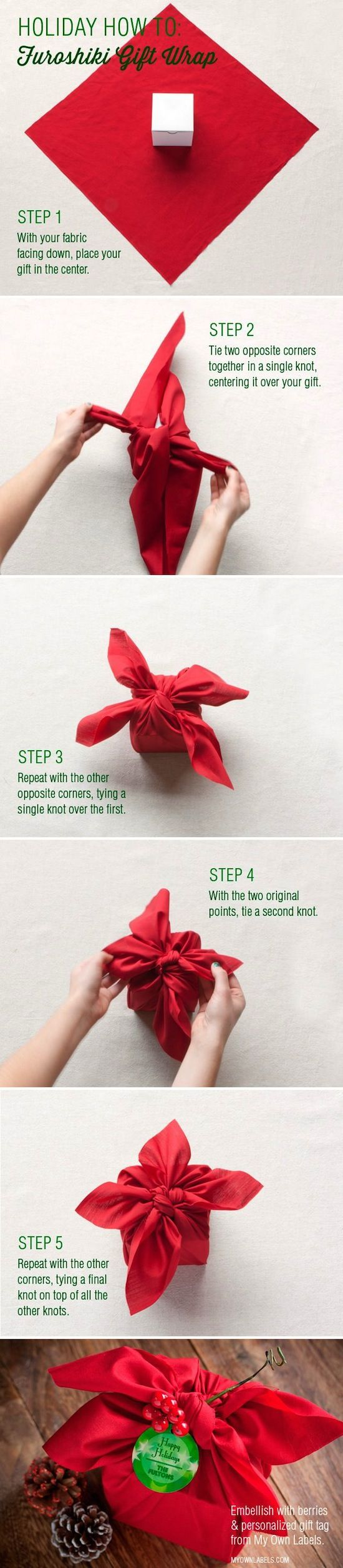 17 Unique Wrapping Paper Ideas -- What a cute and easy way to wrap a gift! Could even use a handkerchief.