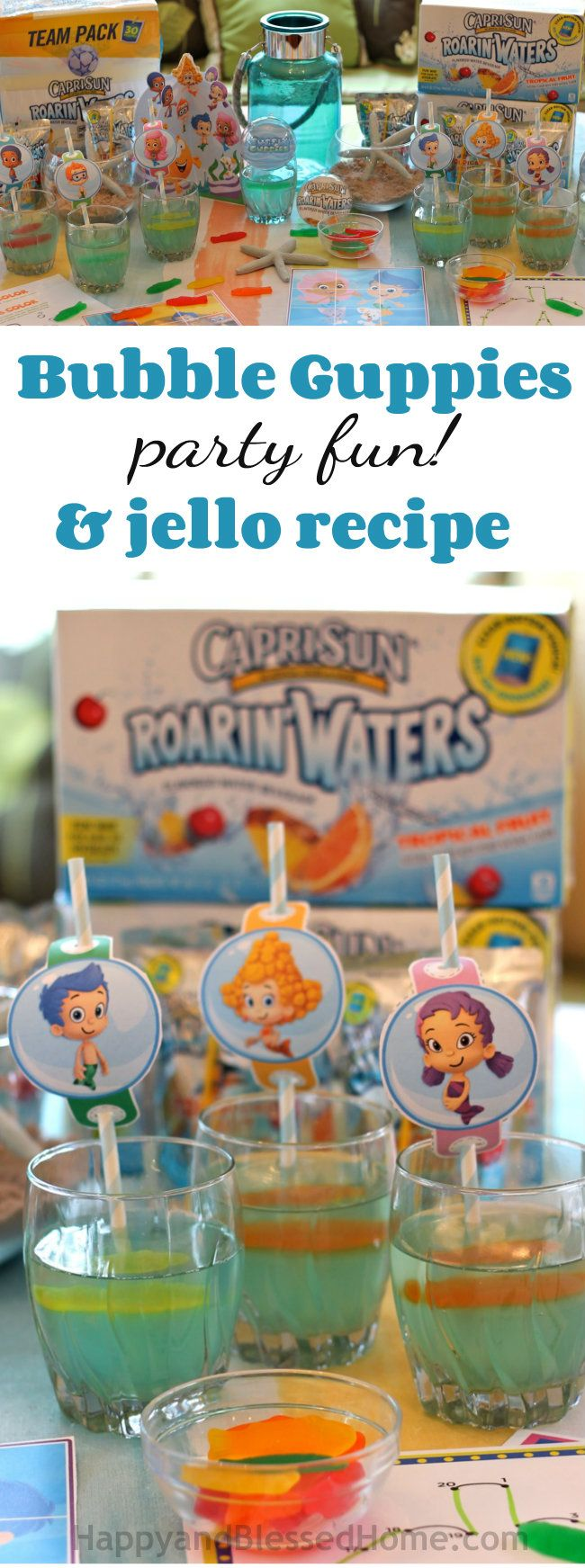 Kid party fun! Free Printables, Bubble Guppies Jello Recipe and Nickelodeon Kids' Choice Awards includes an easy recipe for a Bubble Guppies themed Jello & FREE Printables from HappyandBlessedHome.com