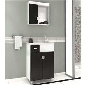 Gabinete para Banheiro com Espelheira Balcony Kit 50 com Gaveta Branco / Preto