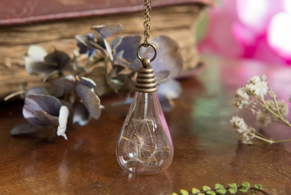Dandelion Terrarium Necklace Dandelion Glass  by LomharaJewellery