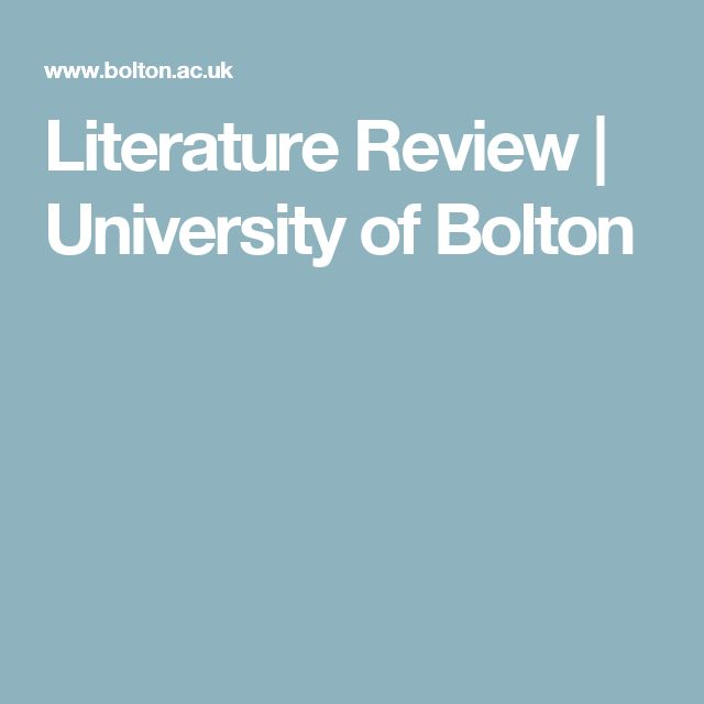Literature Review | University of Bolton