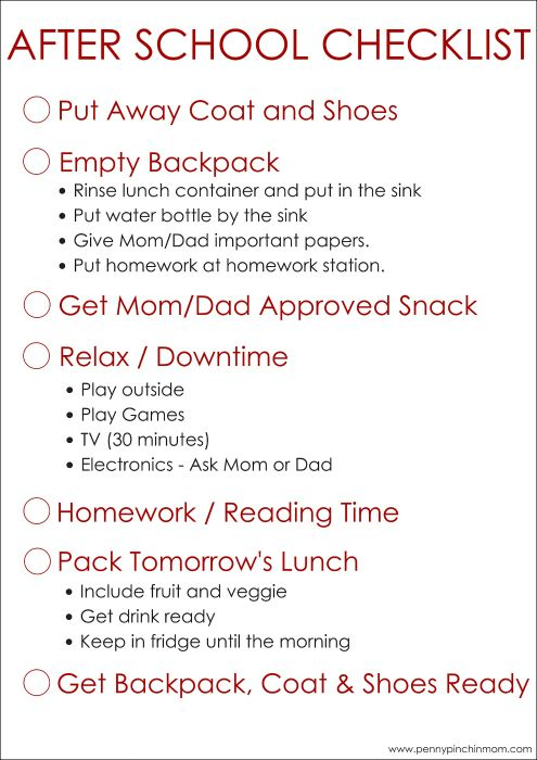 Create an after school schedule for your kids -- use this free printable to help them remember what they need to do!