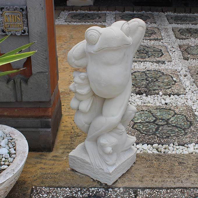 カエルの石像 石彫り 置物 62cm バリ島 パラス石 石像 ストーンオブジェ バリ風 リゾート風 ガーデン