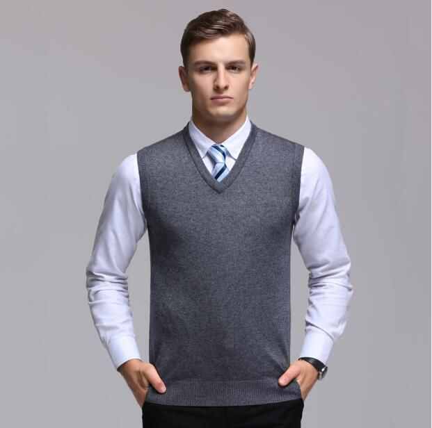 4b1d34a952496 High quality men s cashmere sweater vest autumn   winter sleeveless sweater  male office solid color V-neck wool vest pullover