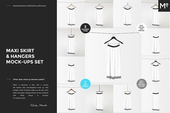 Maxi Skirt & Hangers Mock-ups Set by Mocca2Go/mesmeriseme on @creativemarket