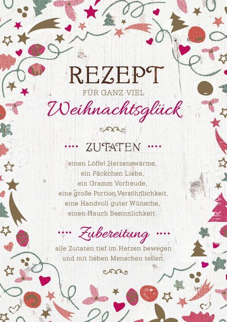 Artikel - Grafik Werkstatt Bielefeld Rezept für Weihnachten, schöne Grußkarte, christmas, german Weihnachtskarte für Whatsapp, Facebook Weihnachtszutaten Weihnachten: