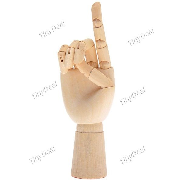 """17.5cm/6.9\"""" Flexible Wooden Hand Jointed Stand Hand Desktop Decoration Toy FTY-232372"""