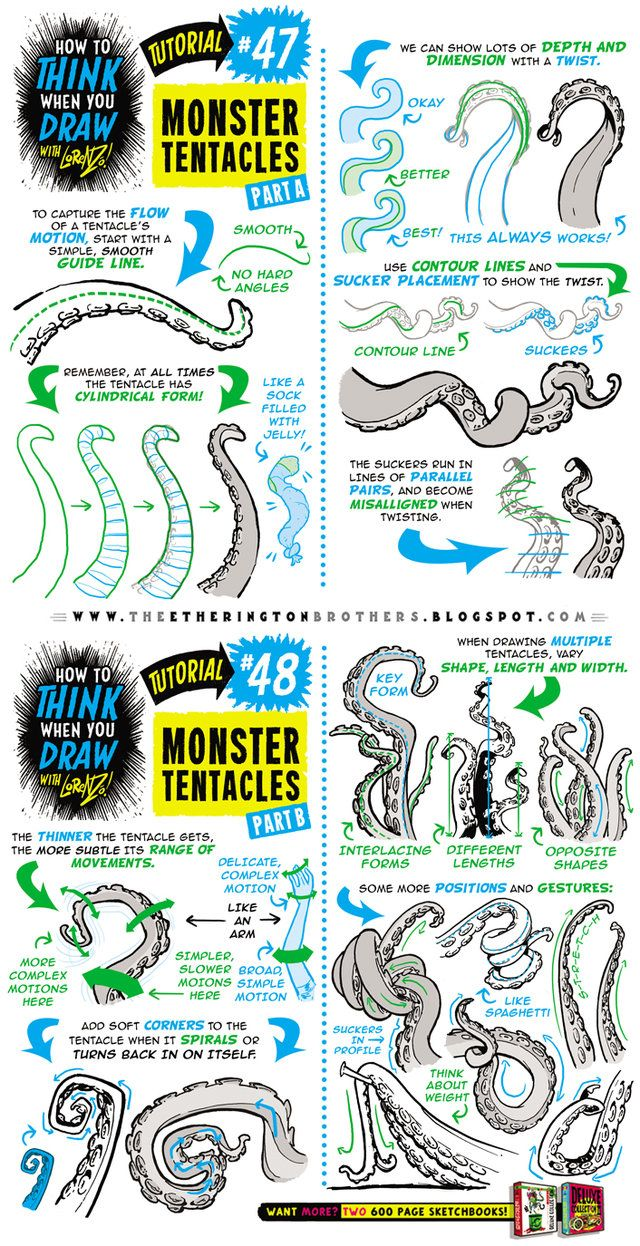 How to draw MONSTER TENTACLES tutorial by STUDIOBLINKTWICE.deviantart.com on @DeviantArt