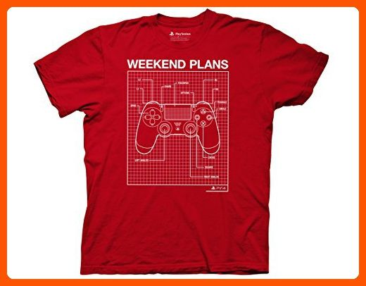Ripple Junction Playstation Weekend Plans Adult T-Shirt Small Red - Cool and funny shirts (*Amazon Partner-Link)