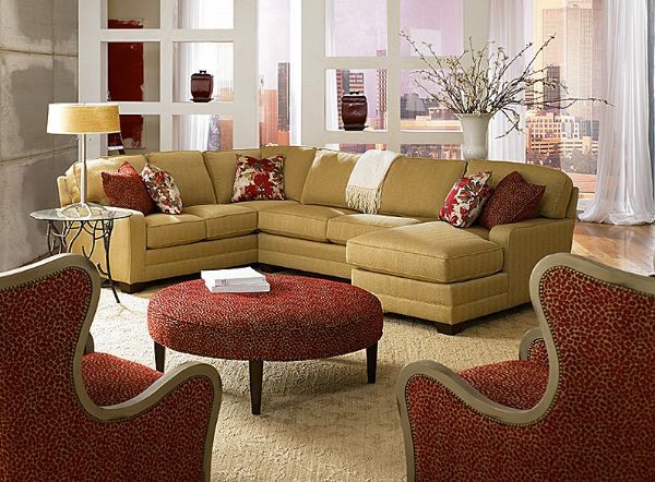 Great sectional and cool chairs. King Hickory Sectional - Bentley For our living room : great sectionals - Sectionals, Sofas & Couches