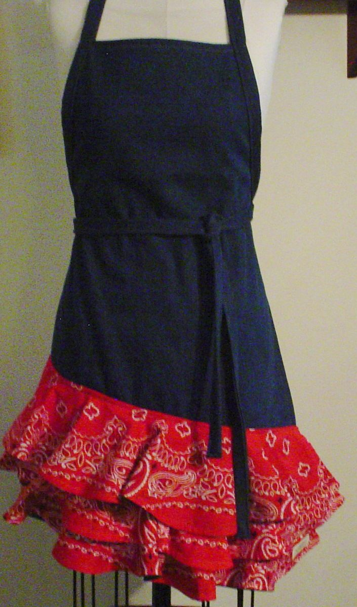 red bandana apron | Apron Denim with Red Bandana Flounces from Oney Farm Originals on ...