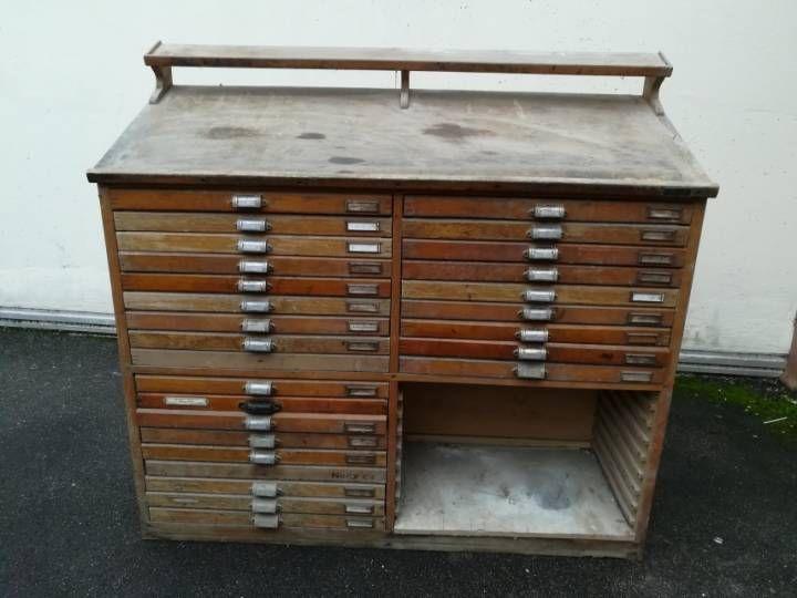 meuble d 39 imprimerie et de typo dans son jus vintage style industriel pinterest imprimerie. Black Bedroom Furniture Sets. Home Design Ideas