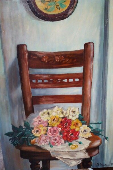 La sedia di mia nonna...olio su tela
