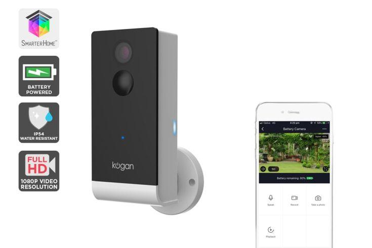 Kogan SmarterHome™ IP54 Outdoor Battery Powered 1080P Wi-Fi Smart Security Camera | Home Security |