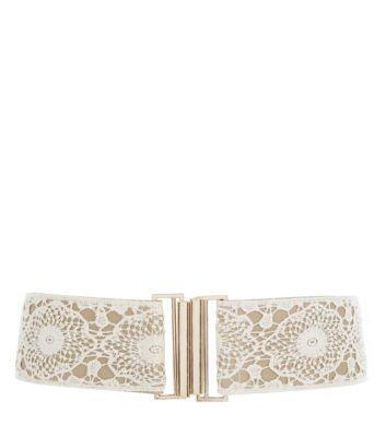Cream Crochet Stretch Belt £7