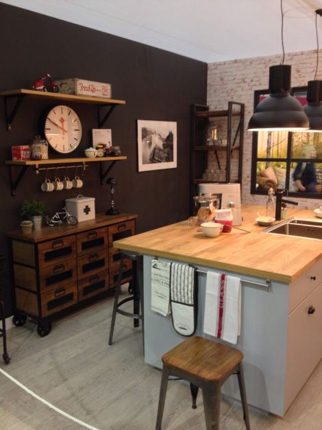Ideal home show kitchen - ikea grey veddinge cabinets and karlby oak countertops - new metod system.