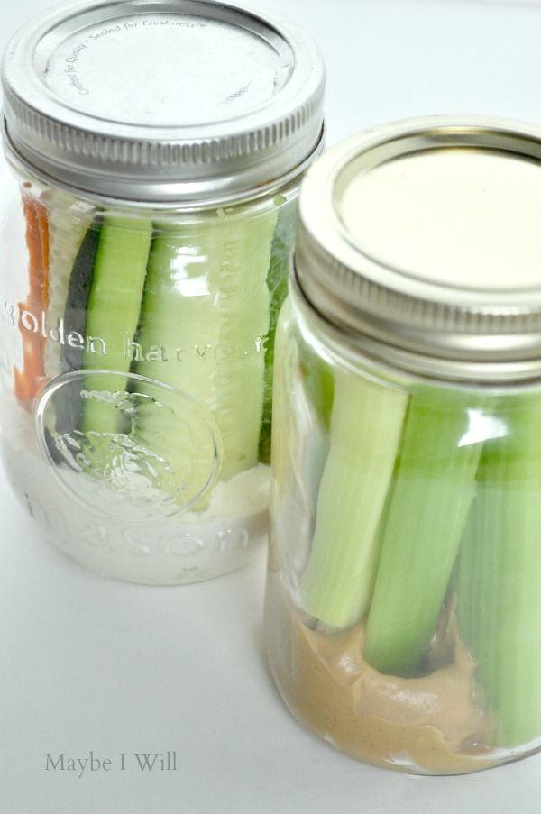 Keep dip / healthy snacks in pint sized Mason jars.  Portion control, handy for on the go, jars keep veggies fresh longer.