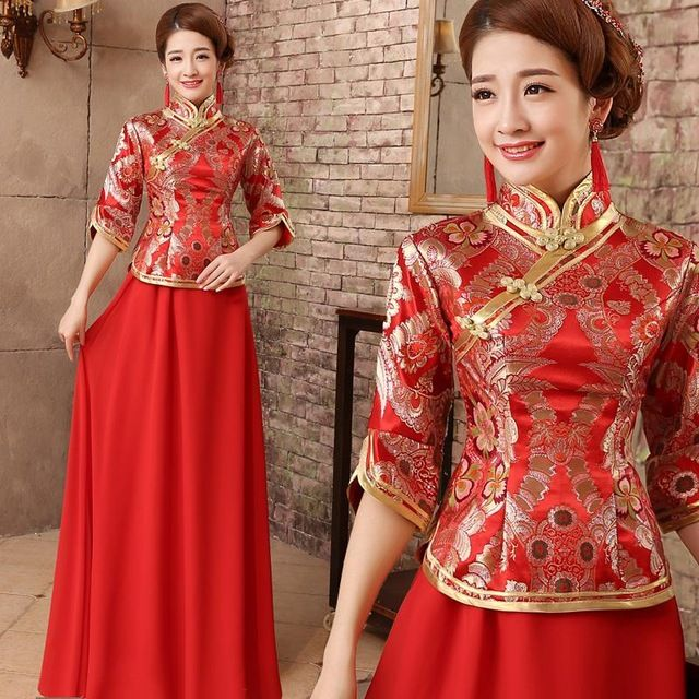 The bride toast new 2016 red winter wedding cheongsam clothing chinese traditional dress qipao african dresses for women 403