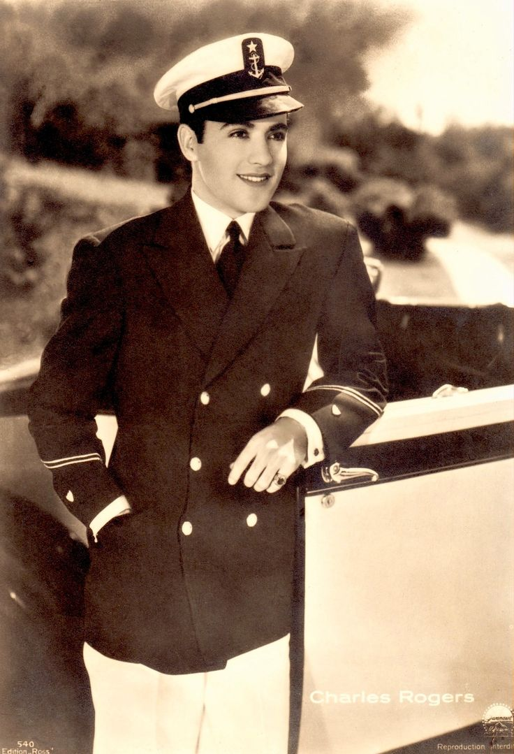 """CHARLES 'Buddy' ROGERS in Navy uniform vintage 4x6"""" large Ross postcard (sans border) early 30's. Silent star, 30's-40's actor/singer/jazz musician/bandleader married silent legend Mary Pickford who was 12 years his senior (please follow minkshmink on pinterest) #buddyrogers #bandleader #silentstar #navy"""