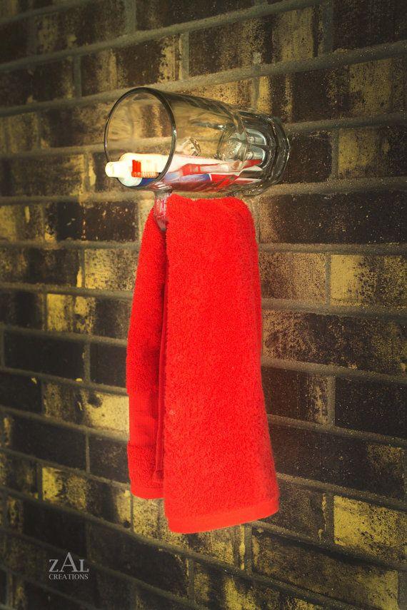 Man Bath Beer mug Towel Holder / Toothbrush holder wall by ZALcreations, $85.00