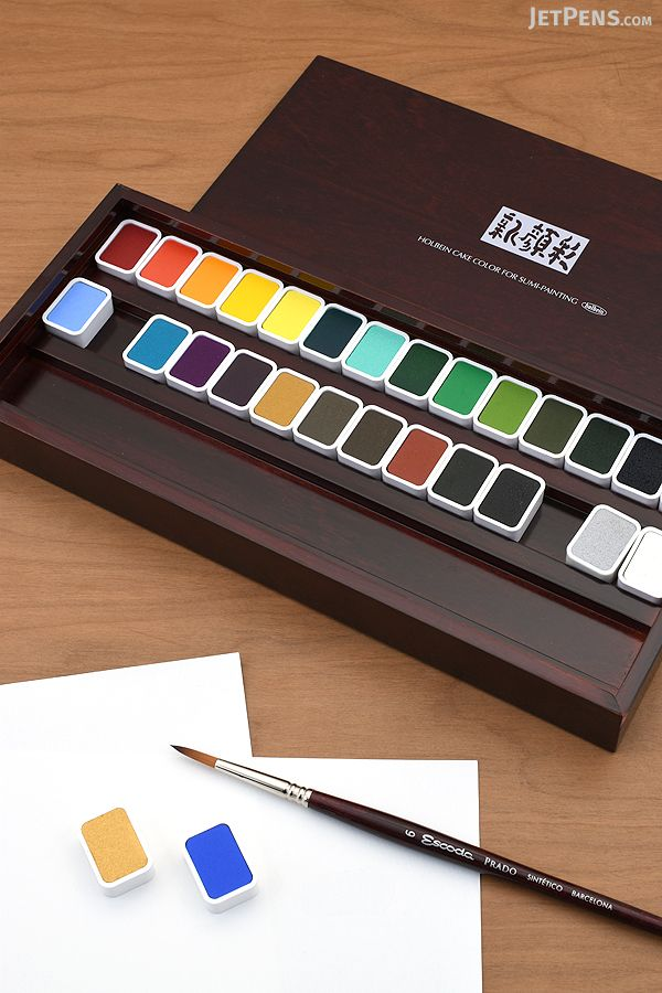 Traditional Japanese Holbein Shin Gansai Watercolors Contain