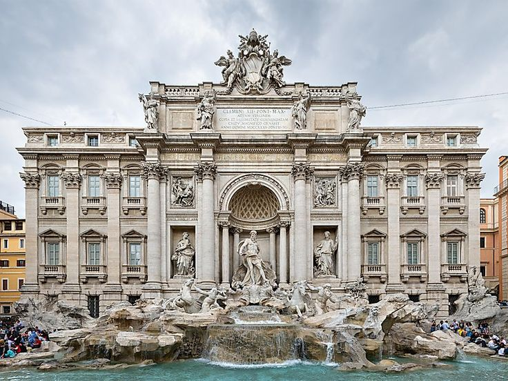 Trevi Fountain in Rome, Italy | Sygic Travel    Probably the most famous fountain in the world, Trevi was constructed in 1762 by Nicola Salvi. It also is the largest Baroque fountain in Rome with almost 80,000,000 liters of water circulating through the system every day.     #travel #destination #tips #europe #ideas #cheap #cheaptravel #inspiration #italy #rome #places #alone #backpack