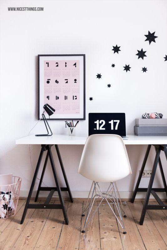 Nordic Working Space / Snug Calendar, Vitra Eames Chair, Hay Box, Ferm Living Wire Basket, Fliqlo / Stars, Pastels