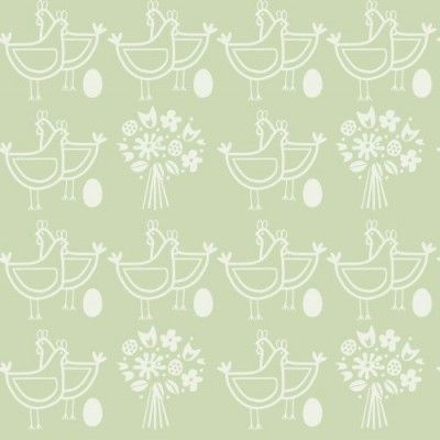 Six of One Pear Green (AZDPT002 Pear Green) - Mini Moderns Wallpapers - A cute wallpaper design featuring chickens, eggs and bouquets of flowers. Shown here in green and white. Please request a sample for a true colour match.