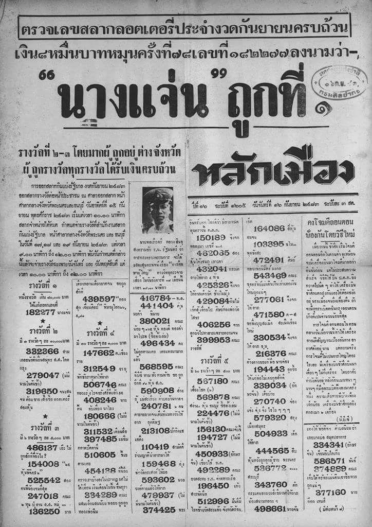 ตรวจเลขสลากลอตเตอรี่ Check Lottery Numbers Results Published: นสพ.หลักเมือง ๑๖/๐๙/๒๔๘๓ Lak Mueang Daily News 16/09/1940