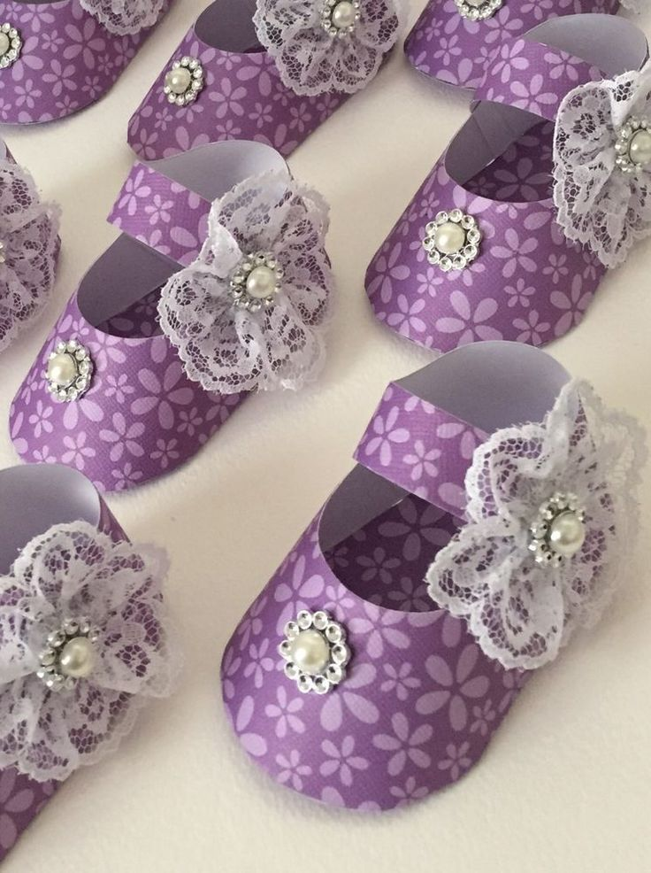 Baby Shower Girlu0027s Shoe Favor Boxes, Purple/Lavender Flowers, Lace, Shabby,  8