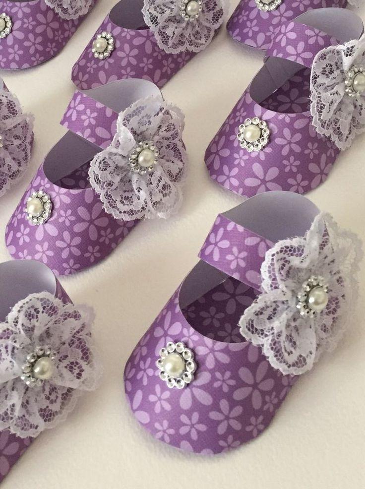 Baby Shower Girl's Shoe Favor Boxes, Purple/Lavender Flowers, Lace, Shabby, 8    eBay