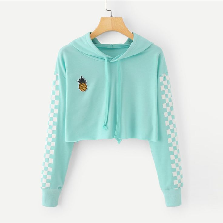 Angie Pineapple Checkered Crop Top Hoodie Sweater in Mint Turquoise