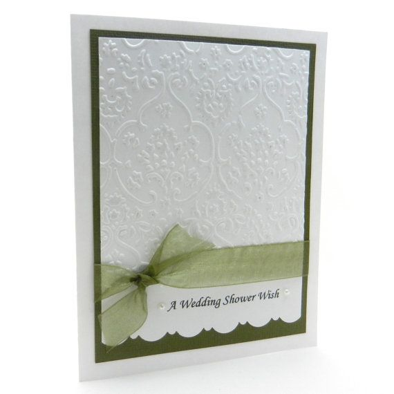 Wedding Shower Card  Handmade  White Damask by EmbellishbyJackie, $6.00