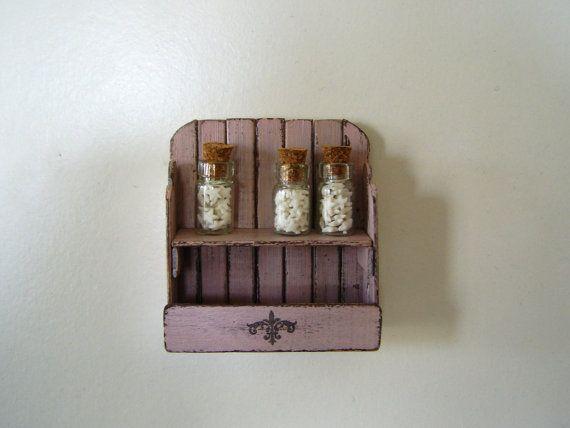 Dollhouse miniature shelf shabby rack  3 candy by DewdropMinis