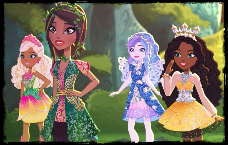 Ever After High new students : (from left) Nina Thumbell, Jillian Beanstalk, Farrah Goodfairy, & Justine Dancer