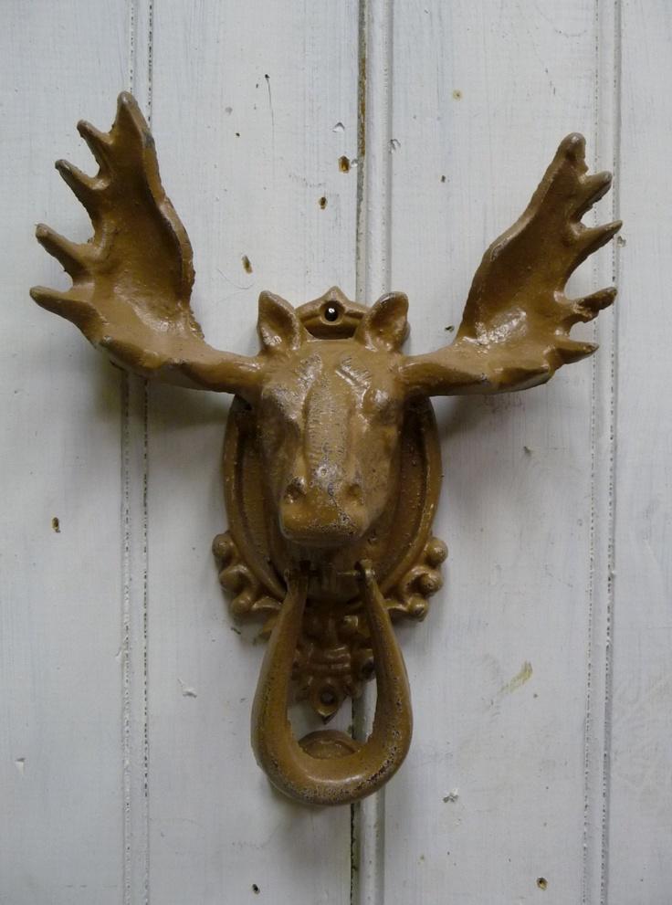 Beautiful Moose Doorknocker Rustic Tan Brown Rustic Nature By MySeriousSide
