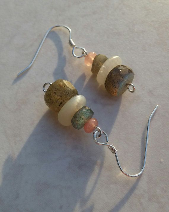 Labradorite sterling silver earrings Moonstone by FuchsiaButterfly